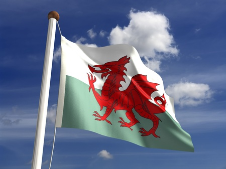 welsh: 3D Wales flag Stock Photo