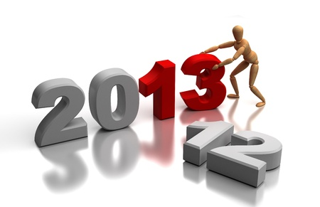 changing form: New Year 2013 and old 2012  computer generated image