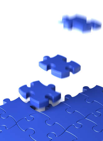 Completion concept with blue puzzle  computer generated image Stock Photo - 15826125
