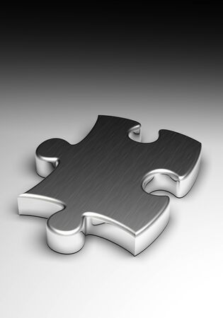Metal Puzzle on degraded background  computer generated image  Stock Photo - 15826136