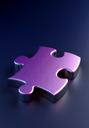 Metal Puzzle on blue background  computer generated image  photo