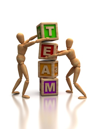 team building: Teamwork concept with dummy  Computer generated image  Stock Photo