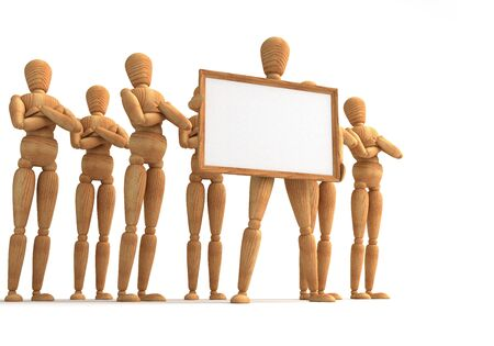 wooden mannequin: Message board  With  Computer generated image
