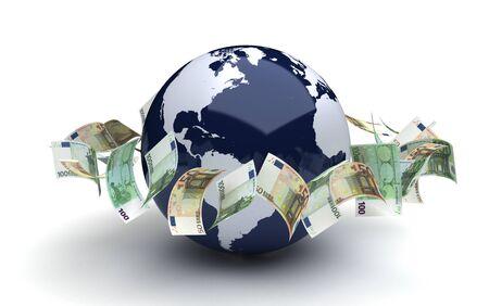 dinero volando: Concepto de negocio global con el ordenador euro generado imagen Foto de archivo