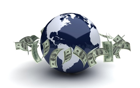 Global business concept with dollar  computer generated image  photo