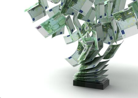 Flying Euros  isolated with   Computer generated images Stock Photo - 16028049