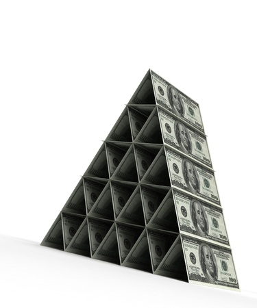 Money pyramid with dollar  computer generated image Stock Photo - 16028036