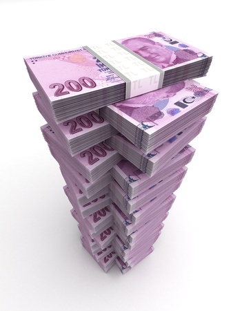 Turkish Lira Tower Concept  Computer generated image  Stock Photo - 16134854