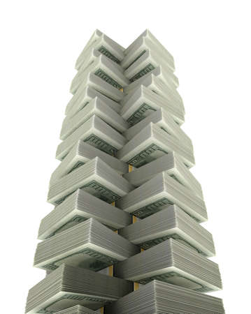 Dollar tower for money concept  isolated on white  photo