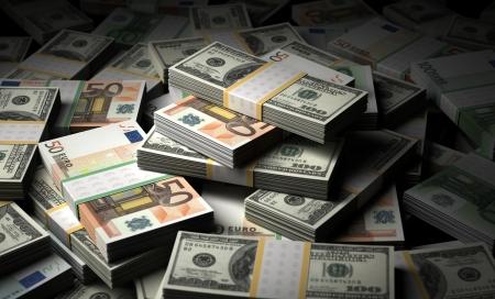 Stack of Money Euro and Dollar Bills Stock Photo - 16134855