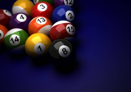Billiard balls on blue background  Computer generated image Stock Photo - 16239707
