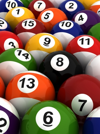 Background with Billiard Balls  Computer generated image  Stock Photo - 16239726