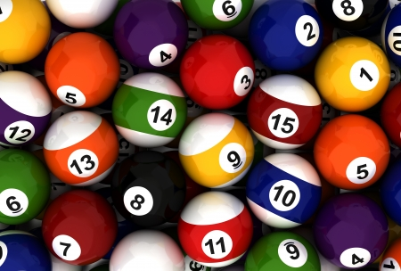 Background with Billiard Balls  Computer generated image