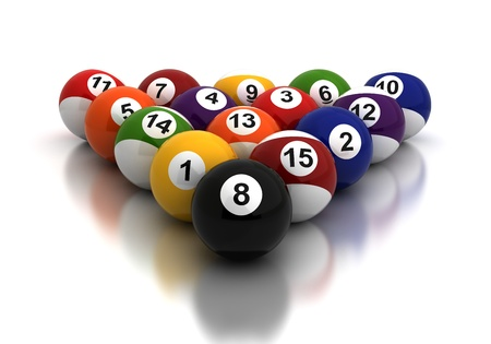 Billiards Balls on white background  Computer generated image  photo
