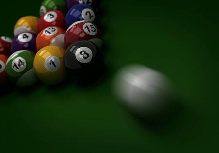 Shot to Billiard Balls  Computer generated image Stock Photo - 16239725