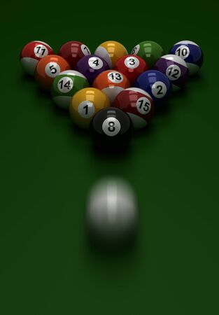 Shot to Billiard Balls  Computer generated image  photo