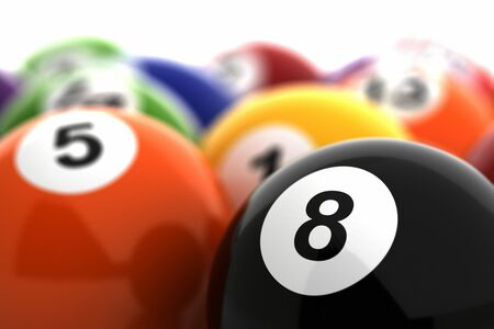 Billiards Close-Up focused number 8  Computer generated image  Stock Photo - 16239742
