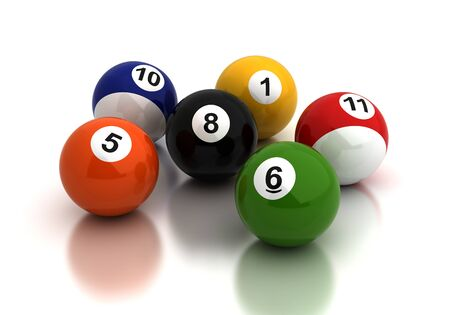 Billiard ballsl on white background  Computer generated image  Stock Photo