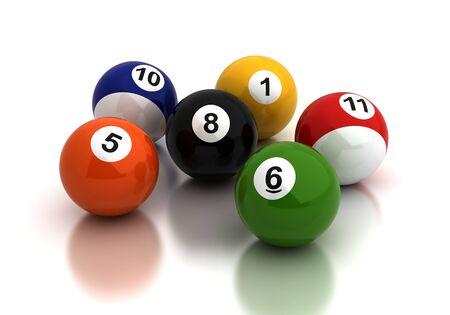 Billiard ballsl on white background  Computer generated image  Stock Photo