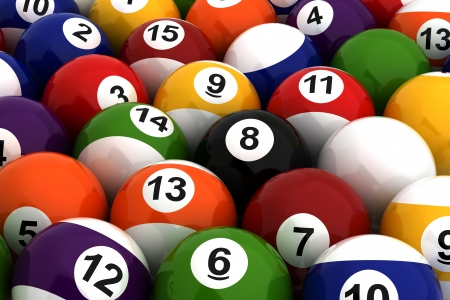 Background with Billiard Balls  Computer generated image  photo