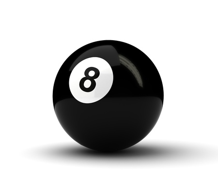 8 ball pool: Number 8 ball on white background  Computer generated image