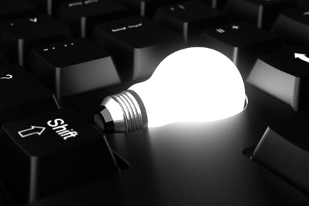 Bulb on black keyboard  Computer generated image  Stock Photo - 16239736