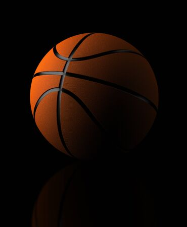 computer generated image: Basketball on black background  Computer generated image  Stock Photo