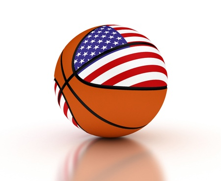 Basketball national team on white background  Computer generated image  photo