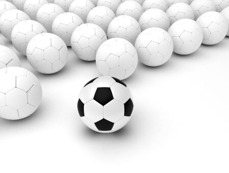Soccer balls concept on white background  Computer generated image Stock Photo - 16239693