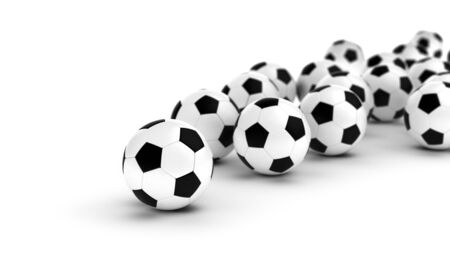Soccer balls on white background  Computer generated image  Stock Photo - 16239690
