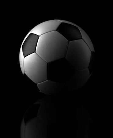 ballon foot: Ballon de football sur fond noir Computer generated image Banque d'images
