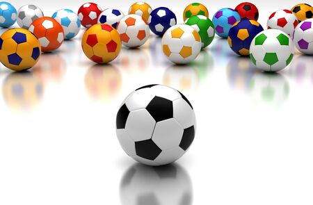 Soccer balls on white background  Computer generated image  Stock Photo - 16239718