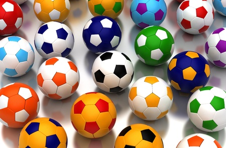 Colorful soccer balls on white background  Computer generated image Stock Photo - 16239737
