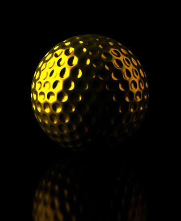 Golden golf ball on black background  Computer generated image Stock Photo - 16239681