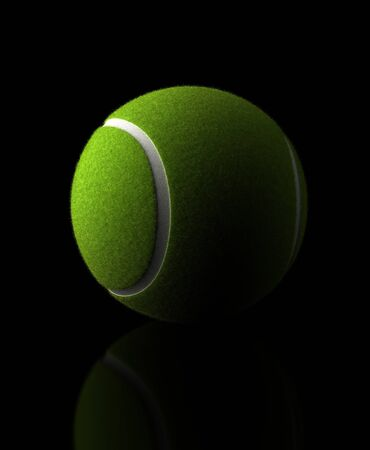 Tennis Ball on black background  Computer generated image  Stock Photo - 16239730