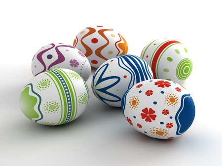 Multi color painted easter eggs  computer generated image Stock Photo - 16239755