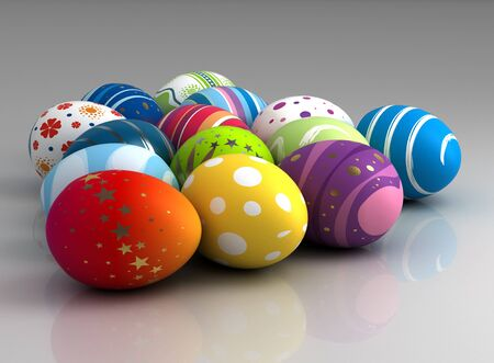 Multi color painted easter eggs  computer generated image Stock Photo - 16239754