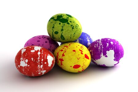 Multi color painted easter eggs  computer generated image Stock Photo - 16239757