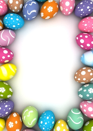 Frame with easter eggs  computer generated images  Stock Photo