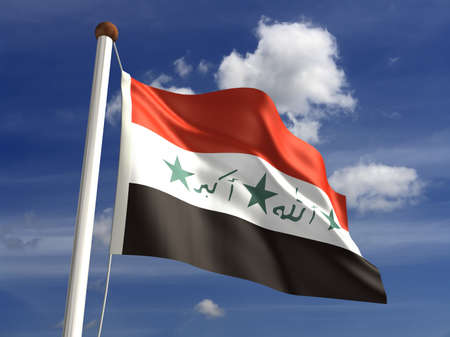 Iraq flag with clipping path  Computer generated image Stock Photo - 16431103