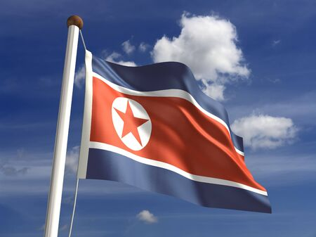 North Korea flag with clipping path  Computer generated image Stock Photo - 16431105