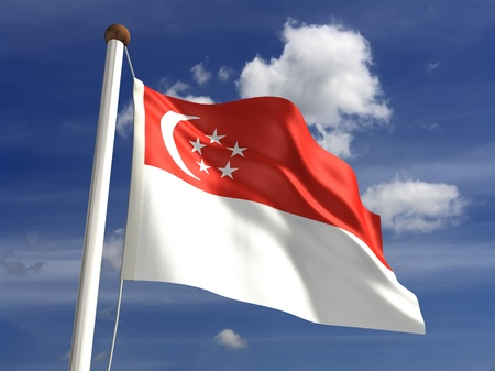 Singapore flag with clipping path  Computer generated image  Stock Photo - 16431116