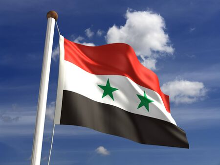 Syria flag with clipping path  Computer generated image  Stock Photo - 16431099