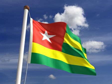 Togo flag with clipping path  Computer generated image  Stock Photo - 16431108
