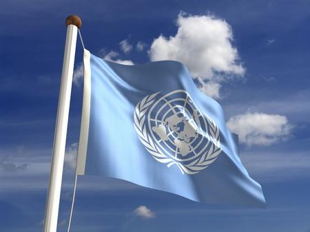 nazioni unite: Bandiera delle Nazioni Unite con il percorso di clipping isolato con percorso di clipping Archivio Fotografico
