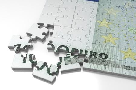 Incomplete Euro Puzzle  high resolution computer generated image Stock Photo - 16431596