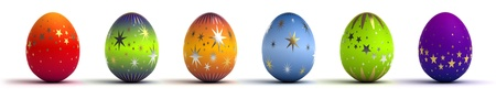 Easter Eggs on white background  Computer generated image  photo
