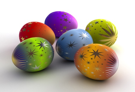 Easter Eggs on white background  Computer generated image  Stock Photo - 16591555