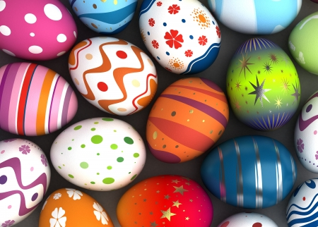 Background with Easter Eggs  Computer generated image  Stock Photo - 16591559