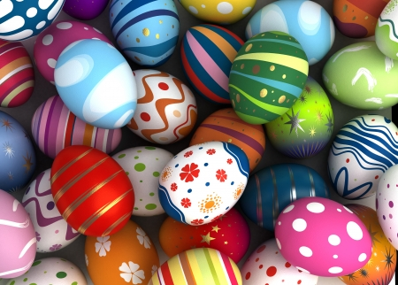 Background with Easter Eggs  Computer generated image